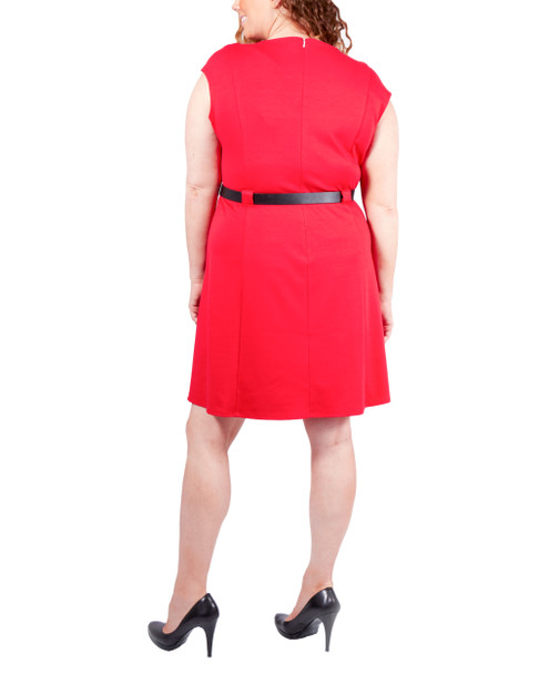 Plus Size Short Sleeve Belted Dress~Jalapeno Red*WDKD0387