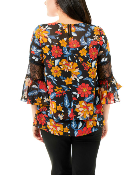 Floral Double Layer Chiffon Top~Jet Backgarden*MCCU0819