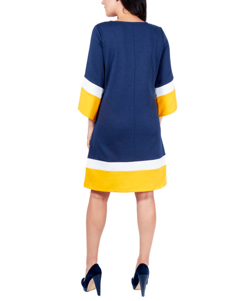 Color Block A-Line Dress~Navy Tricombo*MDKD0397