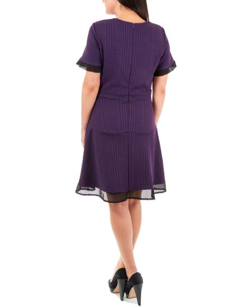 Mesh Panel Fit and Flare Dress~Purple Risedot*MNKD0424