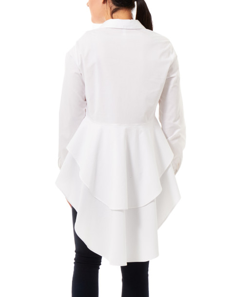 Double Peplum High-Low Blouse~White*MPLB0307