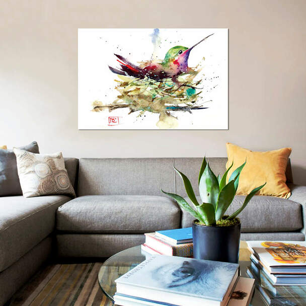 """iCanvas """"Hummer In Nest"""" by Dean Crouser Canvas Print~DCR97-1PC3"""
