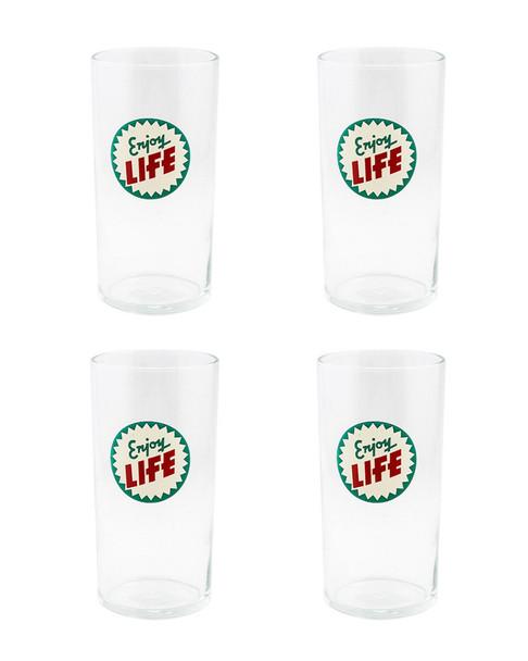 Fishs Eddy  Set of 4 Enjoy Life Highball Glasses~30109748060000
