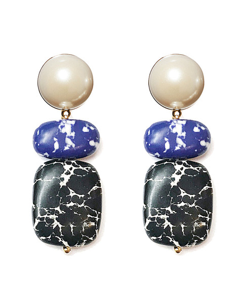 Lele Sadoughi 14K Plated Howlite Boulder Drop Earrings~60302309850000