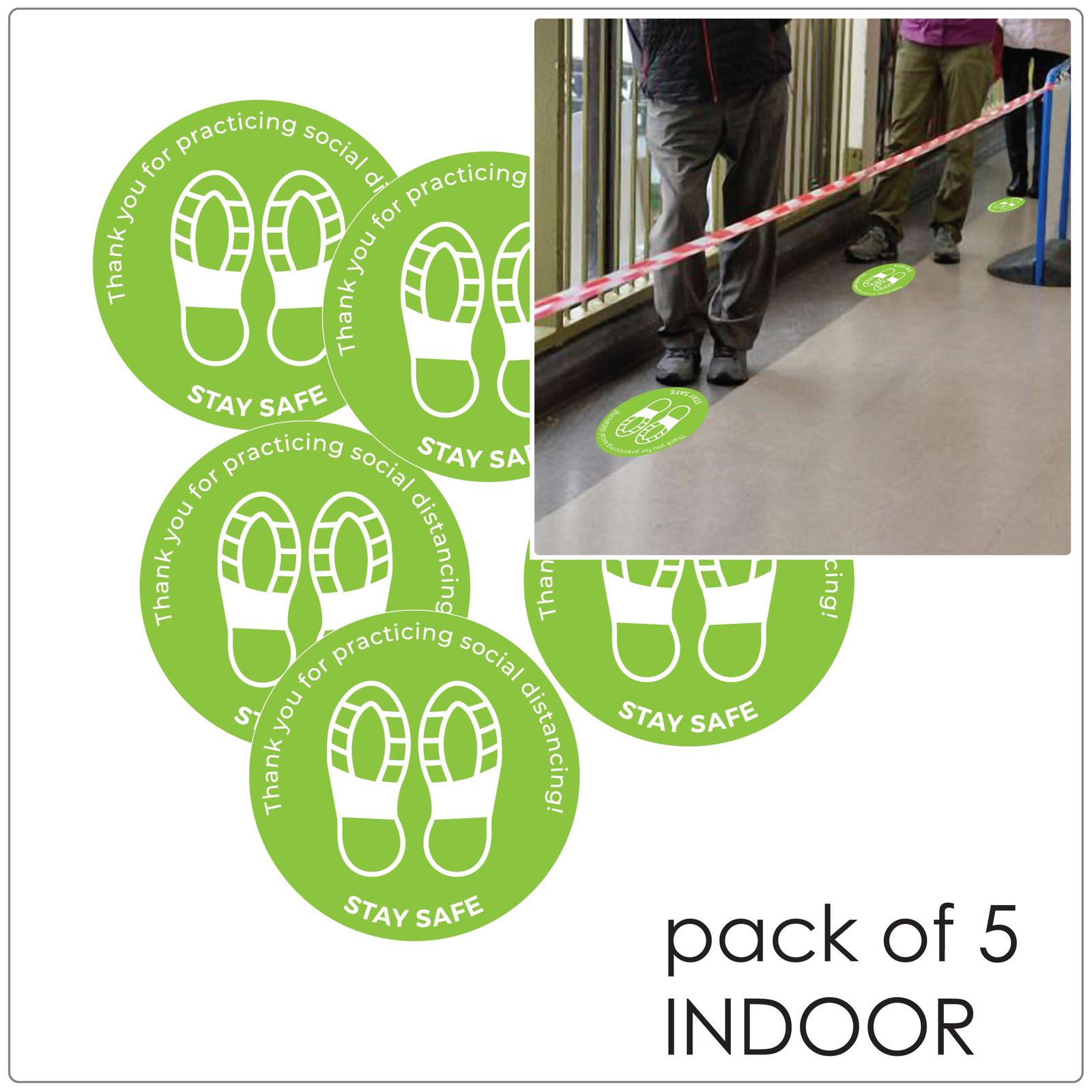 social distancing floor sticker for hard floors, pack of 5, green Self-adhesive Corona virus floor sticker to help social distancing.