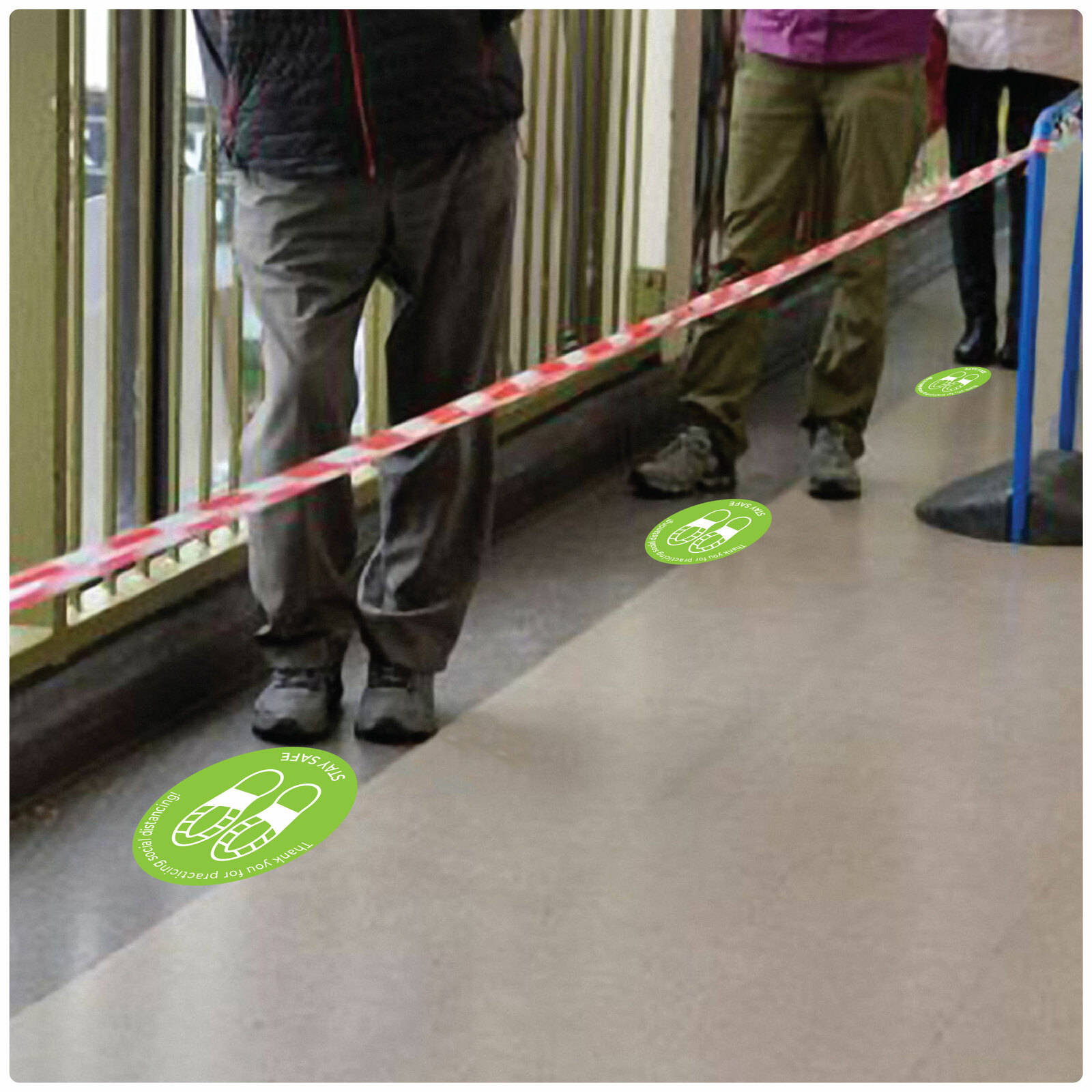social distancing floor sticker for hard floors Self-adhesive Corona virus floor sticker to help social distancing.
