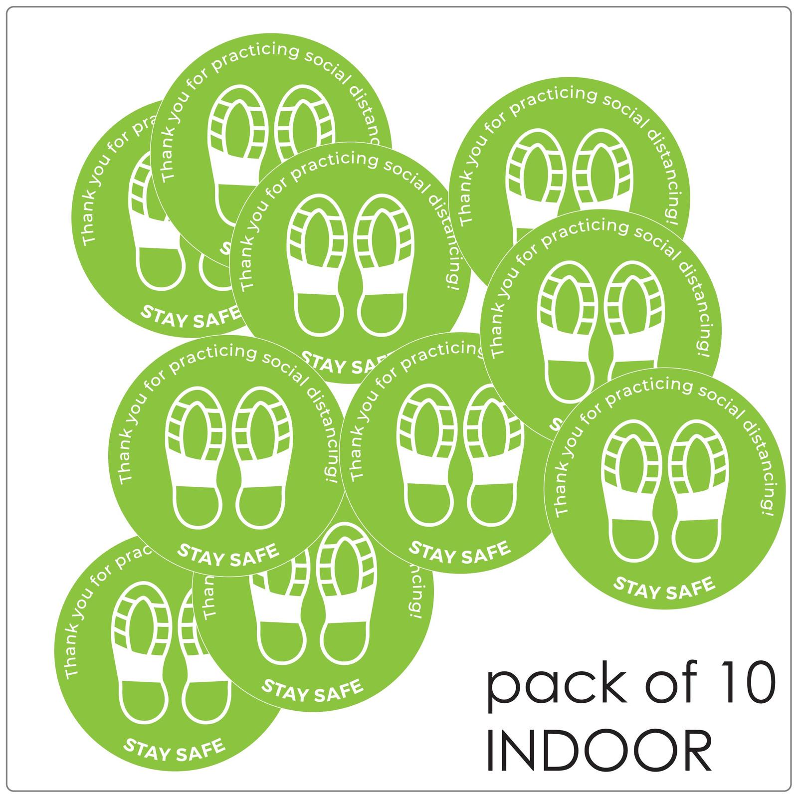 social distancing floor sticker for hard floors, pack of 10, green Self-adhesive Corona virus floor sticker to help social distancing.