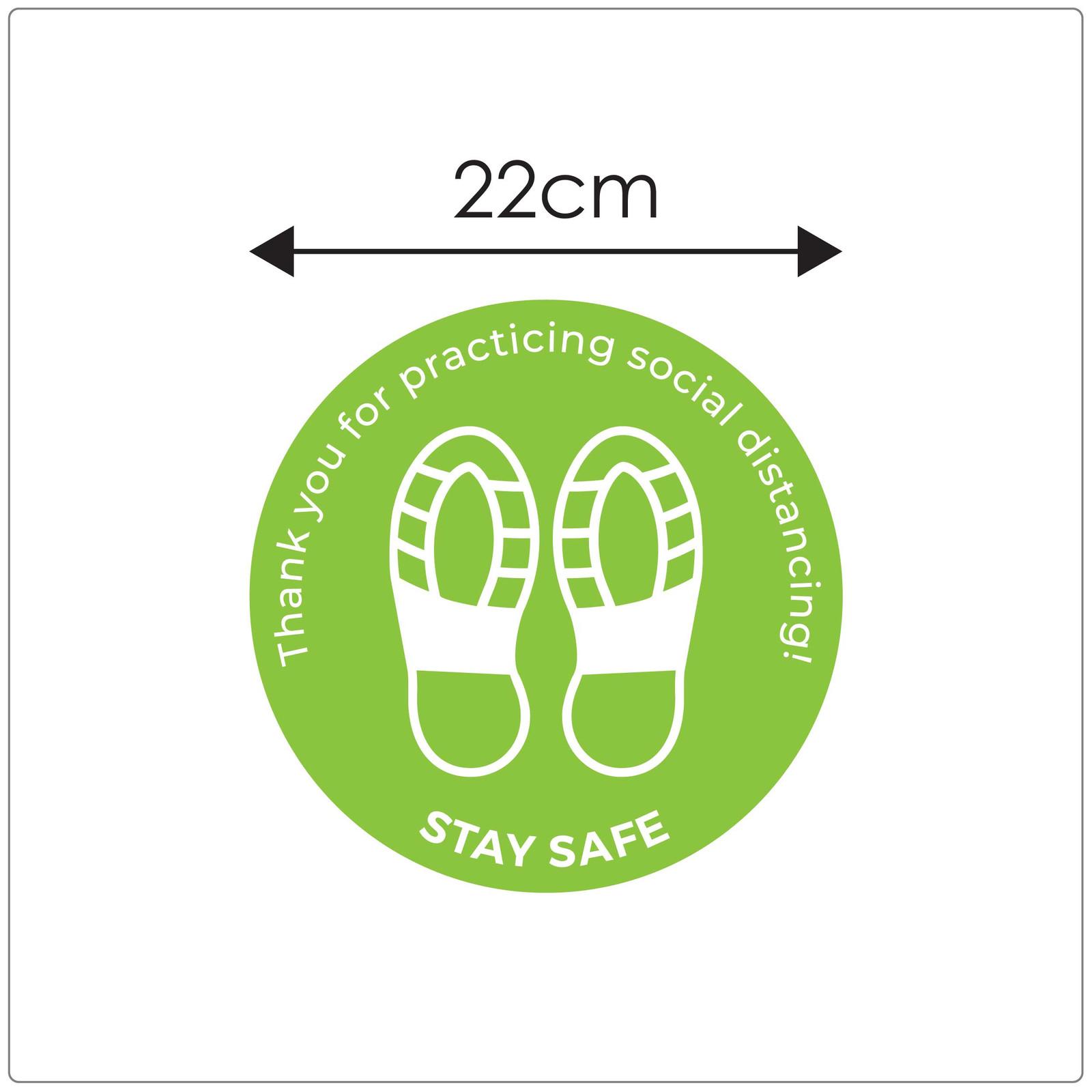 social distancing floor sticker for hard floors, sizing, green Self-adhesive Corona virus floor sticker to help social distancing.