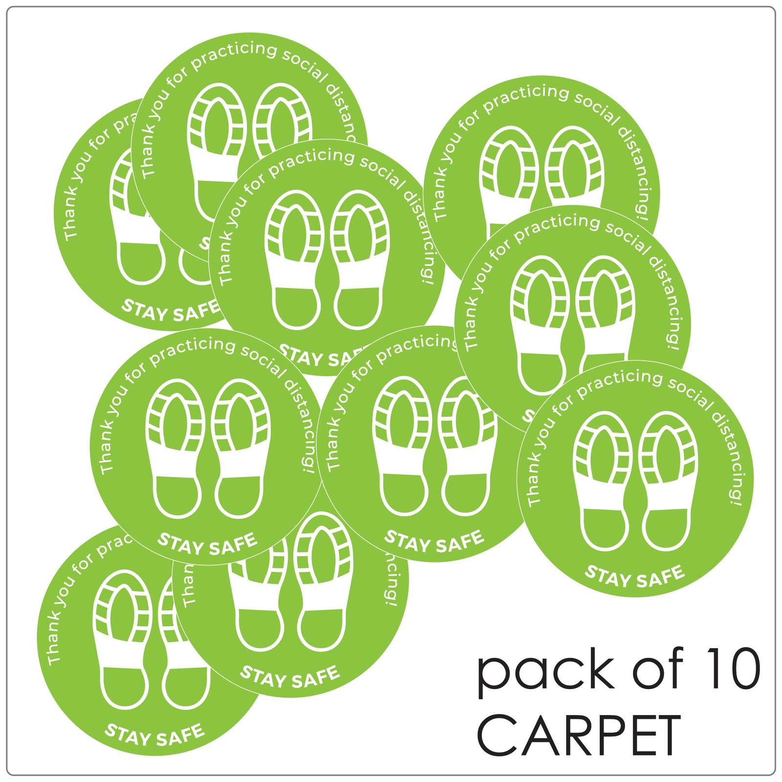 social distancing floor sticker for carpet, pack of 10 Self-adhesive Corona virus floor sticker to help social distancing.