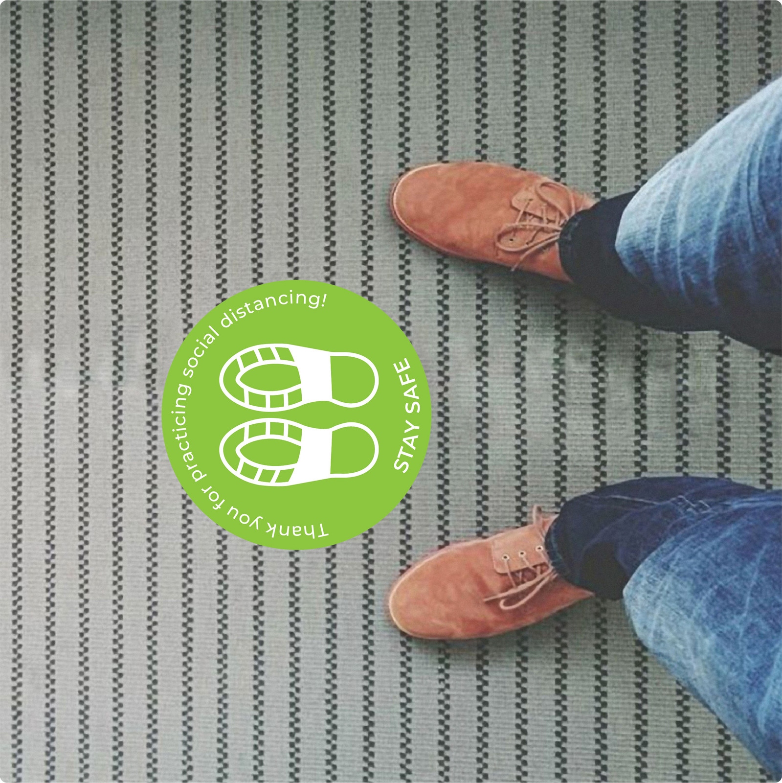 social distancing floor sticker for carpet. Self-adhesive Corona virus floor sticker to help social distancing.