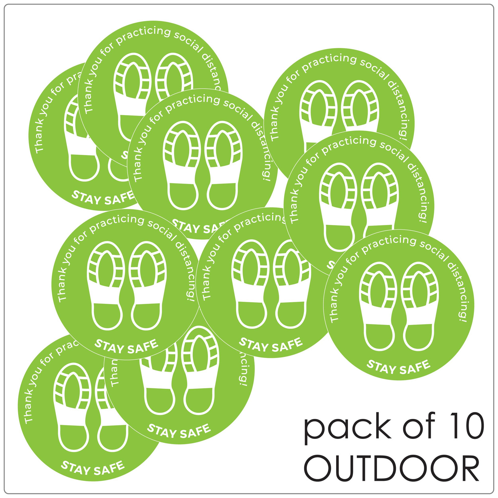 social distancing floor sticker for outdoor floors, pack of 10 Self-adhesive Corona virus floor sticker to help social distancing.
