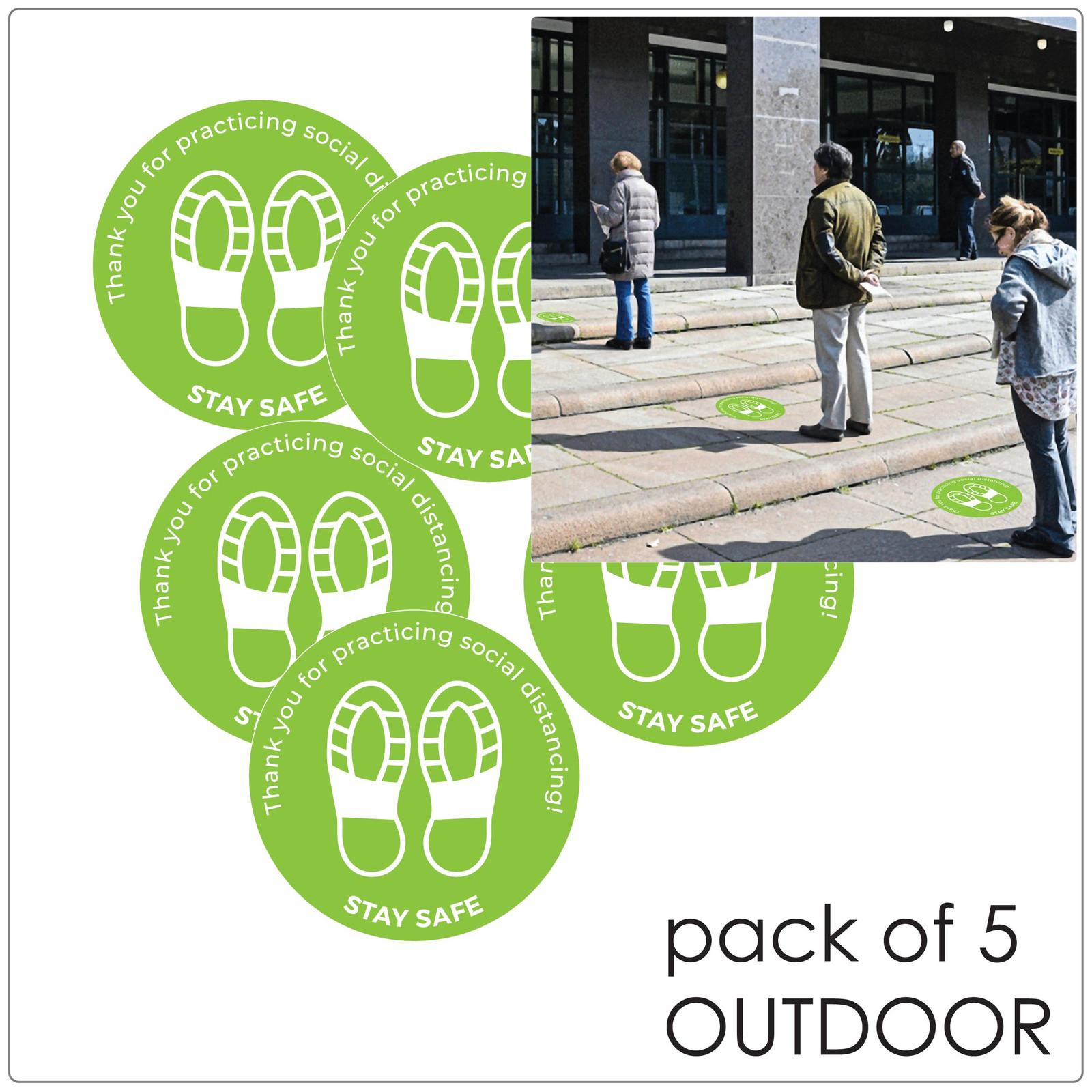 social distancing floor sticker for outdoor floors, pack of 5 Self-adhesive Corona virus floor sticker to help social distancing.