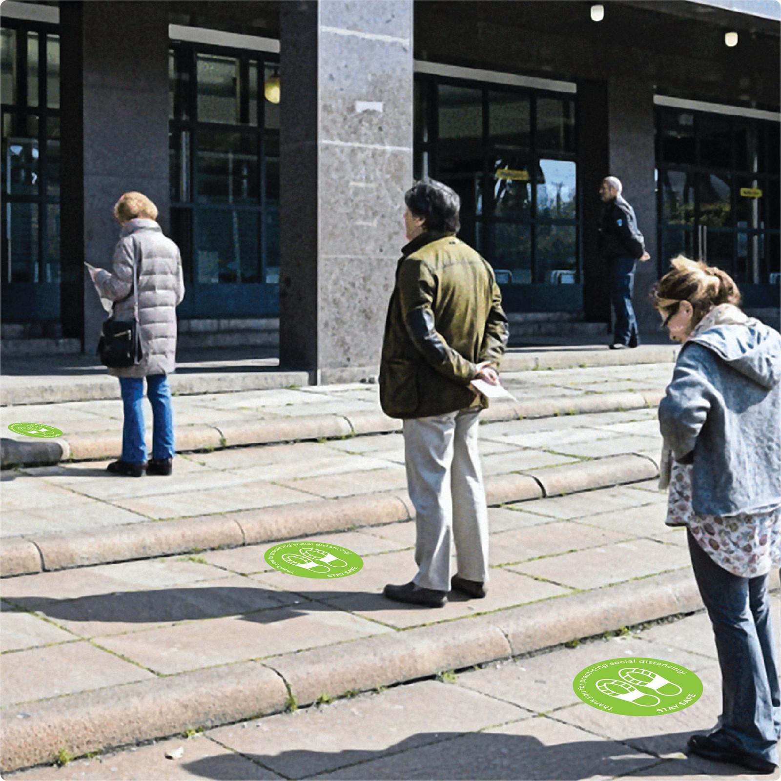 social distancing floor sticker for outdoor floors Self-adhesive Corona virus floor sticker to help social distancing.