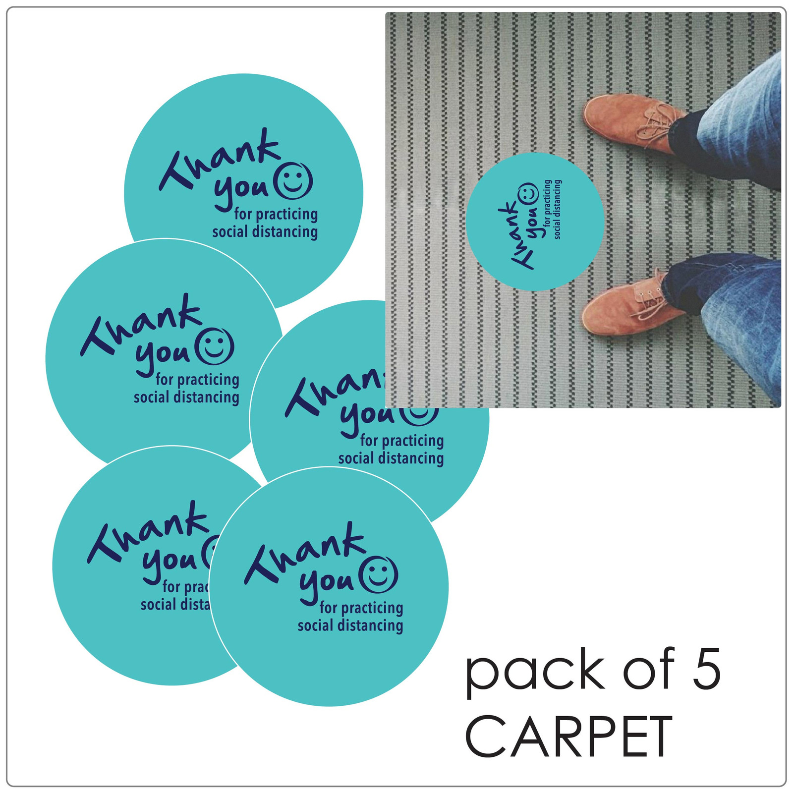social distancing floor marker for carpet, pack of 5, teal Self-adhesive Corona virus floor marker to help social distancing