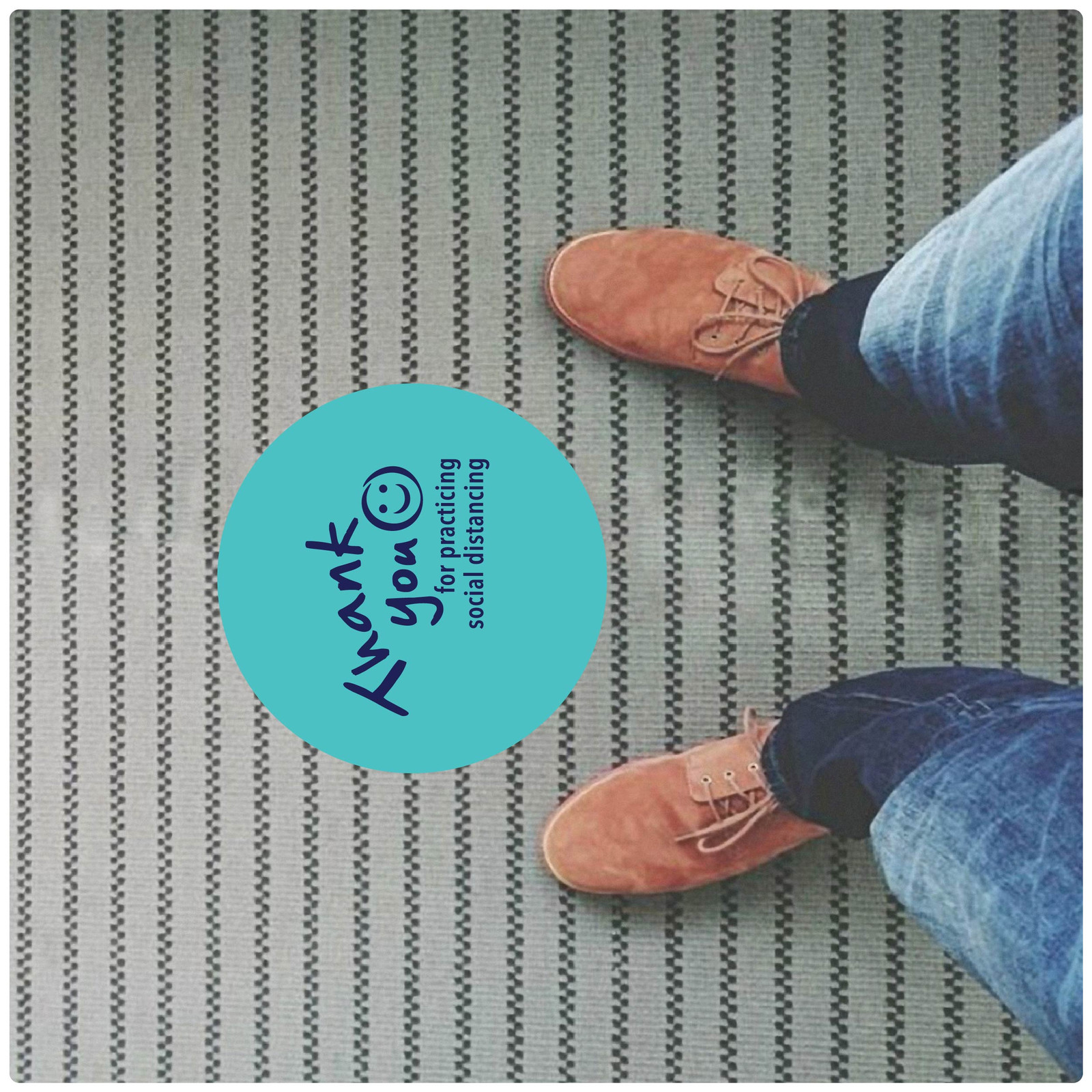 social distancing floor marker for carpet, photo, teal Self-adhesive Corona virus floor marker to help social distancing