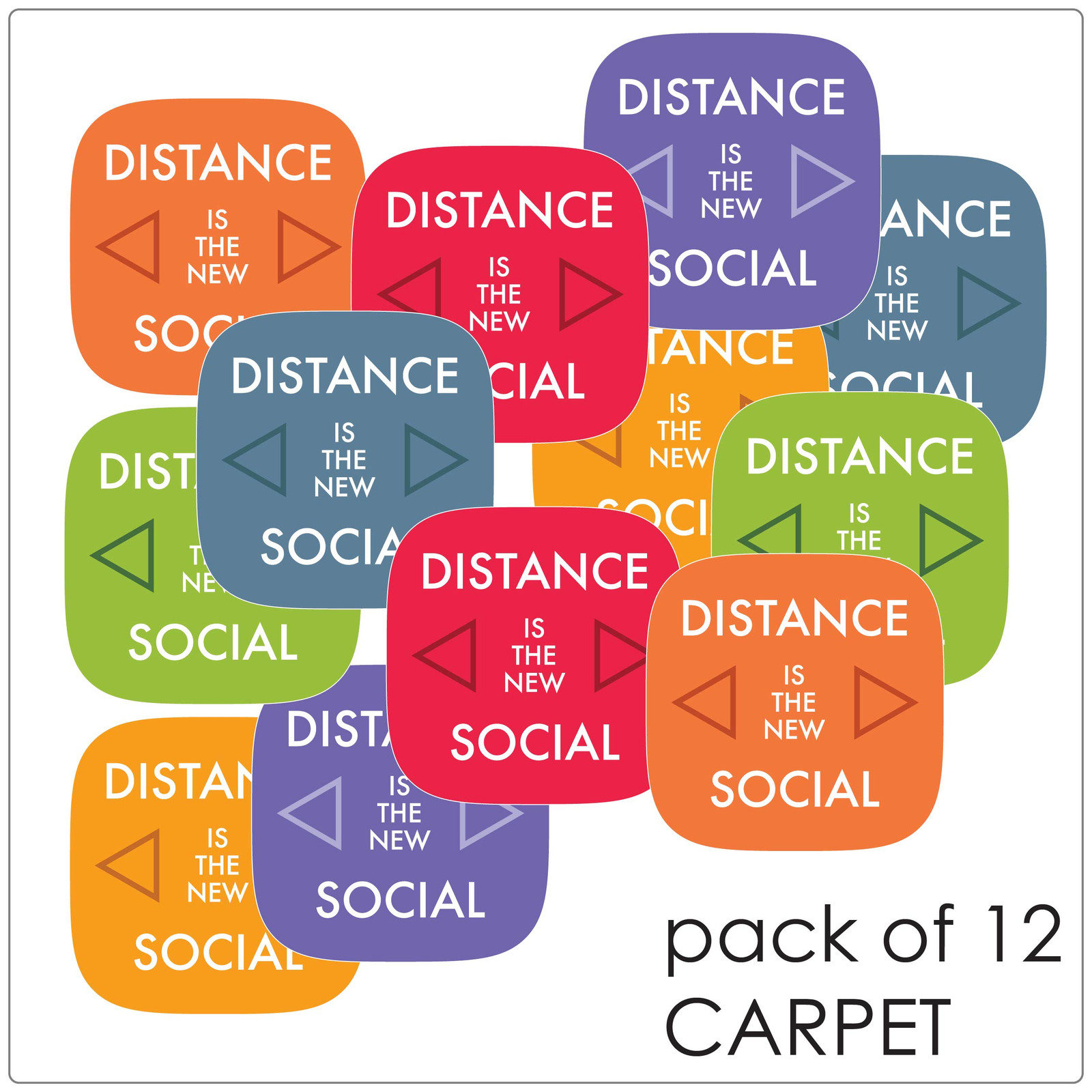 social distancing floor marker for carpet, pack of 10, contemporary mix Self-adhesive Corona virus floor marker to help social distancing