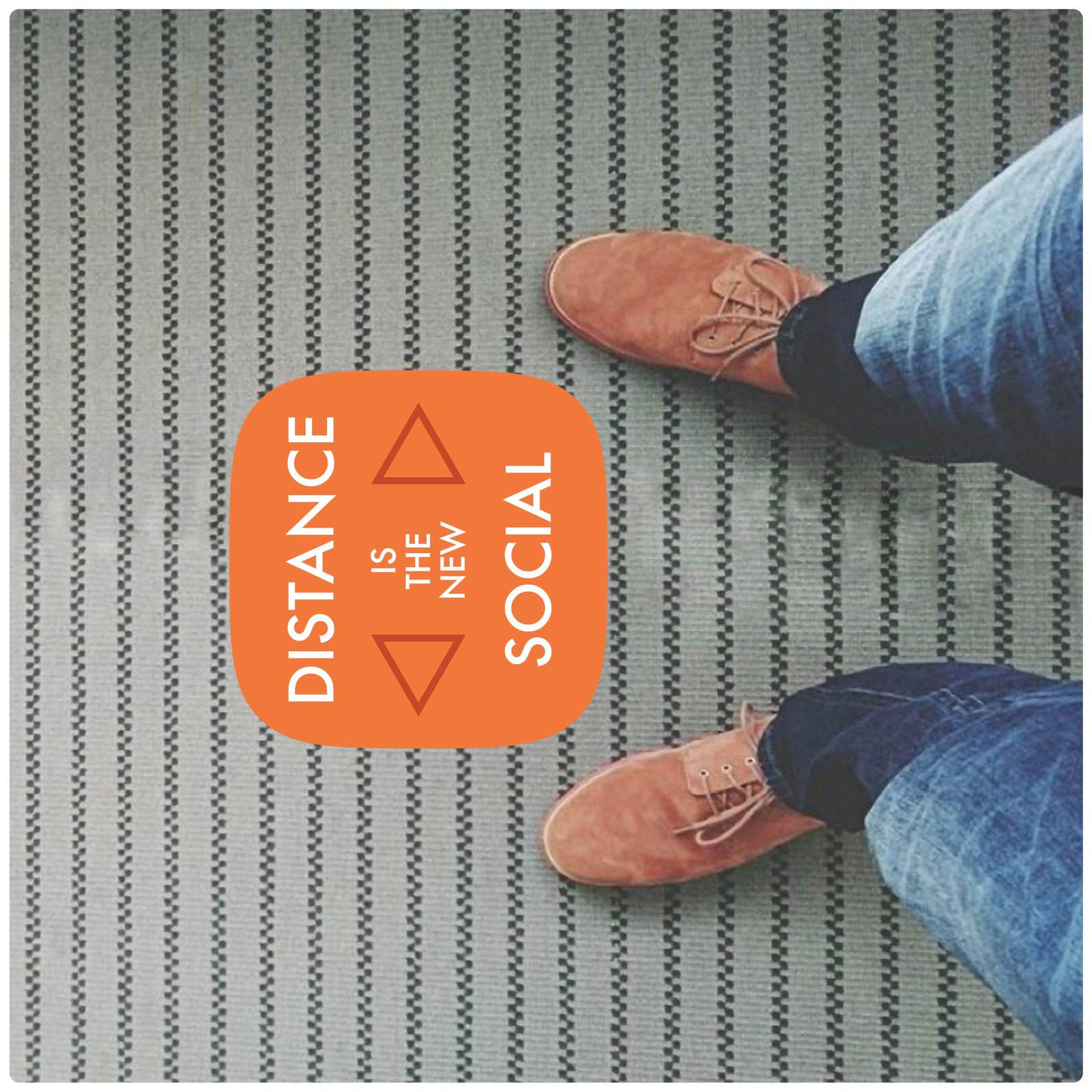 social distancing floor marker for carpet, photo, contemporary mix Self-adhesive Corona virus floor marker to help social distancing