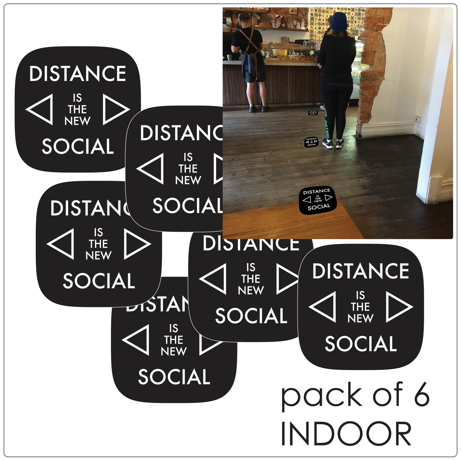 social distancing floor marker for hard floors, pack of 6, contemporary, black Self-adhesive Corona virus floor marker to help social distancing