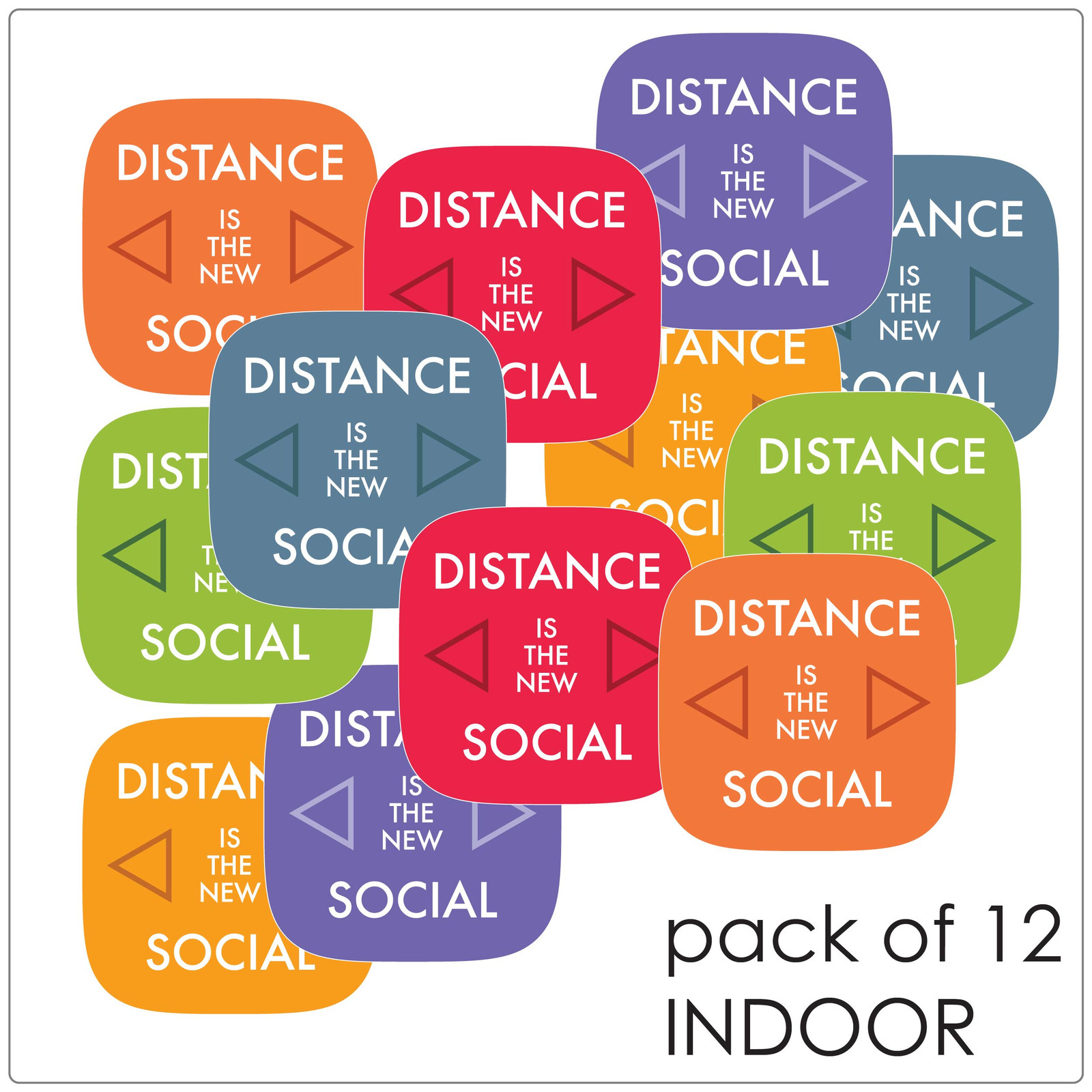 social distancing floor marker for hard floors, pack of 12, contemporary, mix Self-adhesive Corona virus floor marker to help social distancing