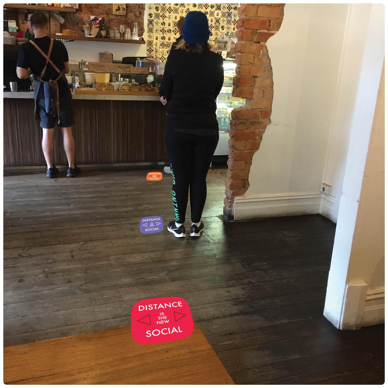 social distancing floor marker for hard floors, photo, contemporary, mix Self-adhesive Corona virus floor marker to help social distancing