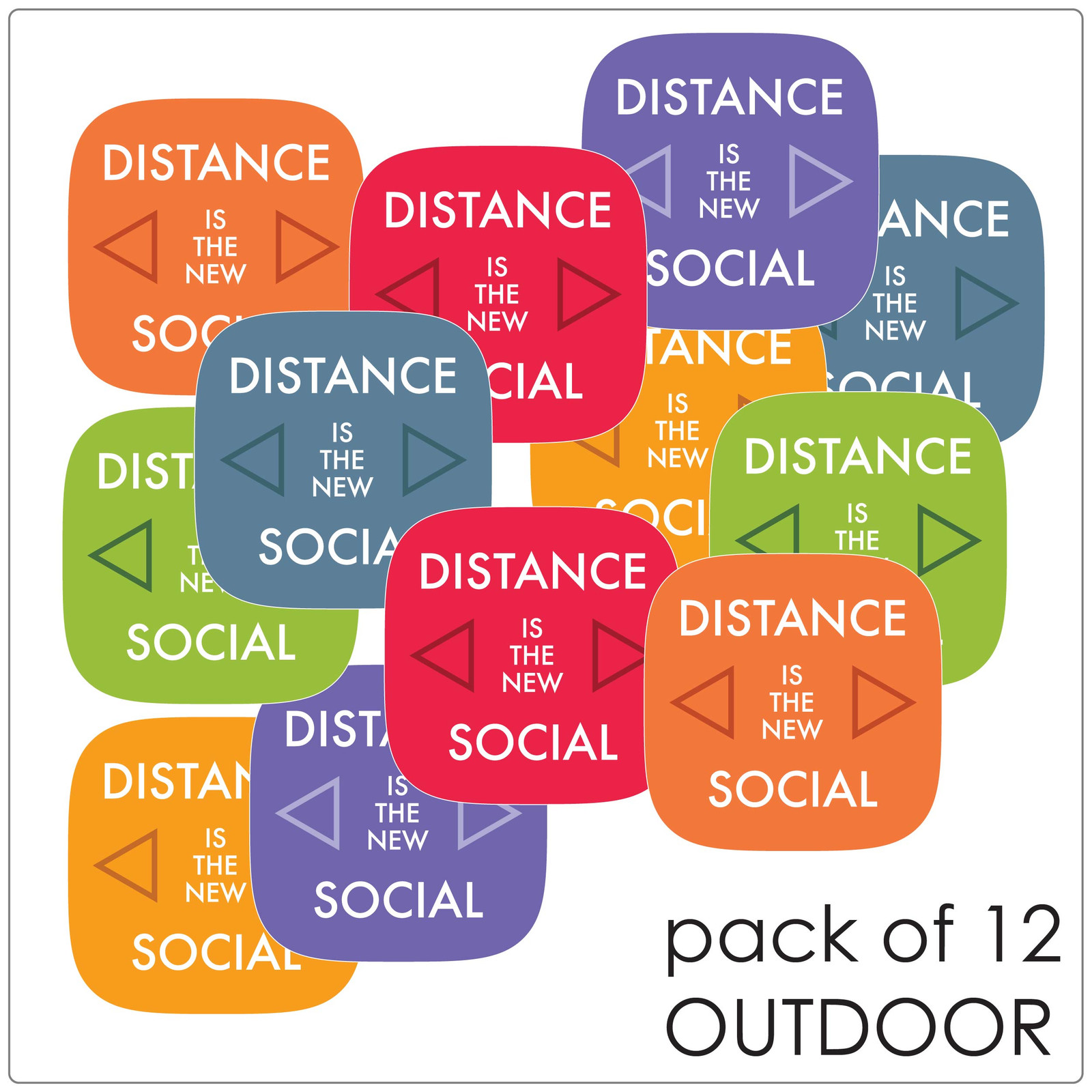 contemporary social distancing floor sticker for outdoor floors, pack of 12, mix Self-adhesive Corona virus floor sticker to help social distancing.