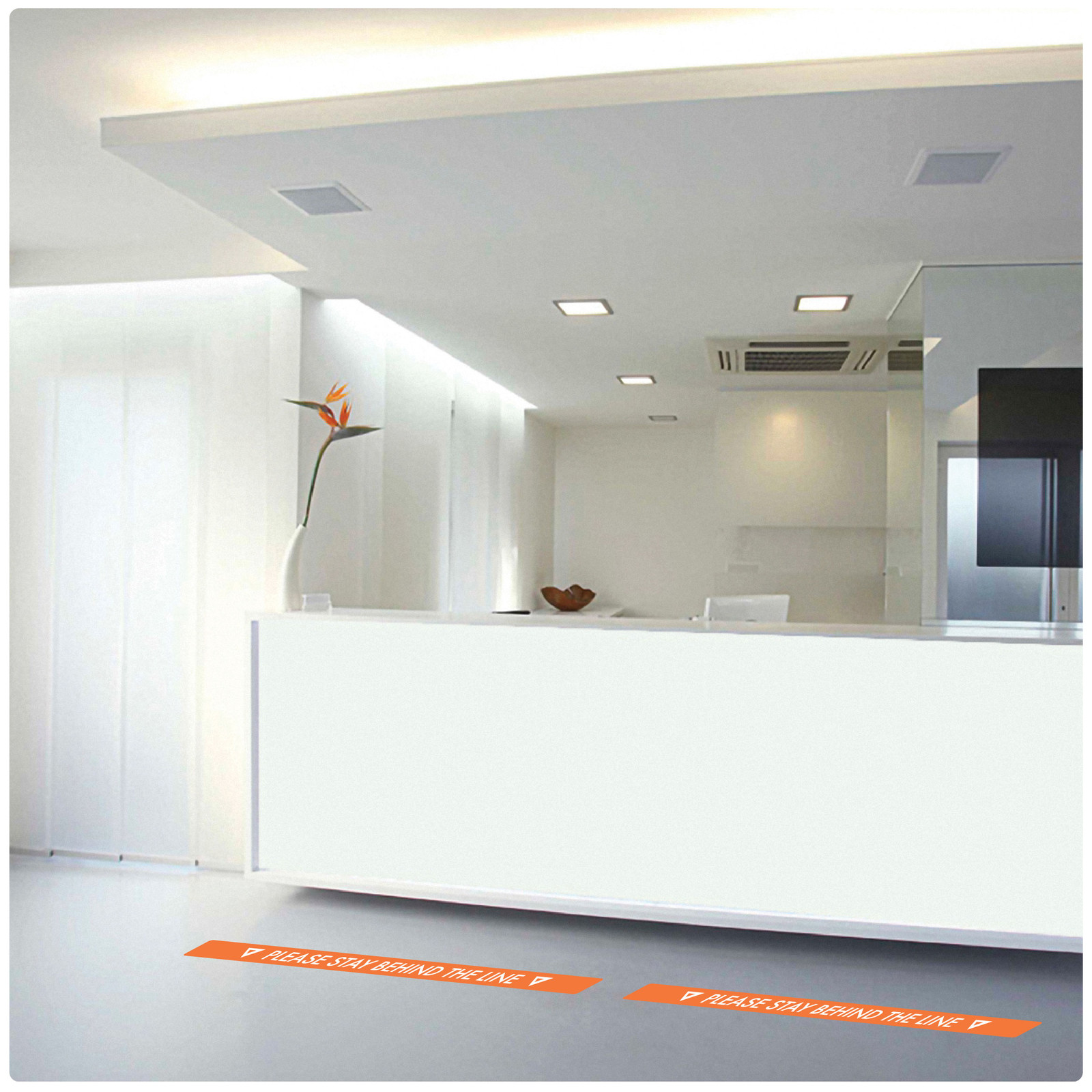 contemporary social distancing floor sticker for tiles, laminate and wood floor 2 lines Self-adhesive Corona virus floor sticker to help social distancing.