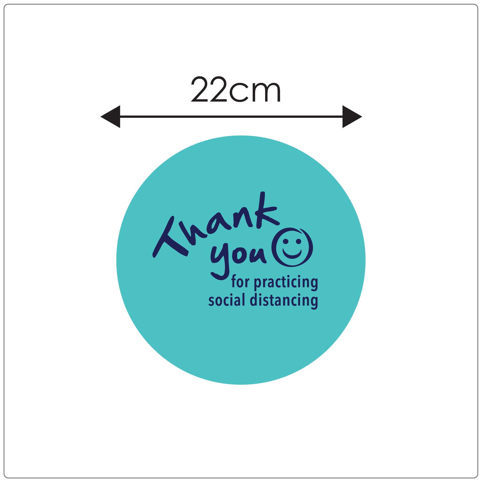 social distancing floor sticker for hard floors, sizing, teal Self-adhesive Corona virus floor sticker to help social distancing.