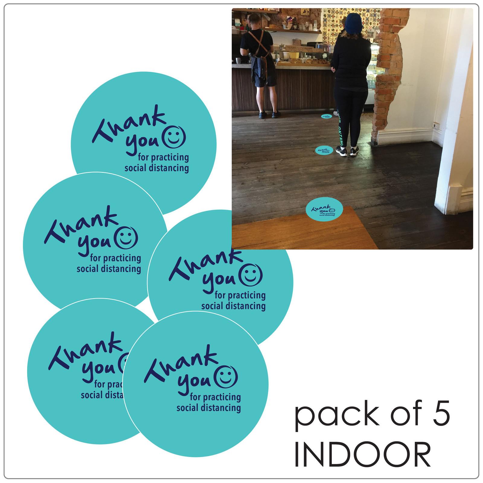 social distancing floor sticker for hard floors, pack of 5, teal Self-adhesive Corona virus floor sticker to help social distancing.