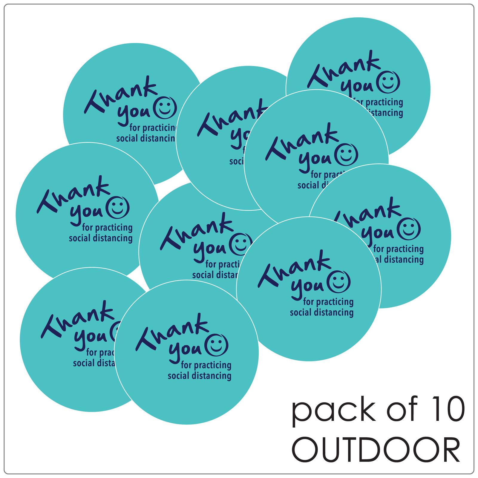 social distancing floor sticker for outdoor floors, teal, pack of 10 Self-adhesive Corona virus floor sticker to help social distancing.