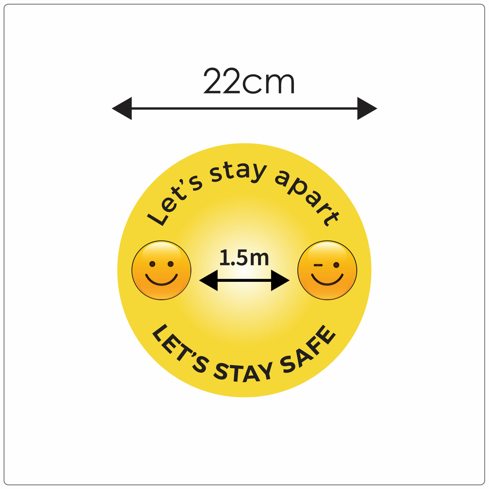 1.5 meter social distancing floor sign for hard floors, size, emoji Self-adhesive Corona floor marker safety floor sticker for COVID-19