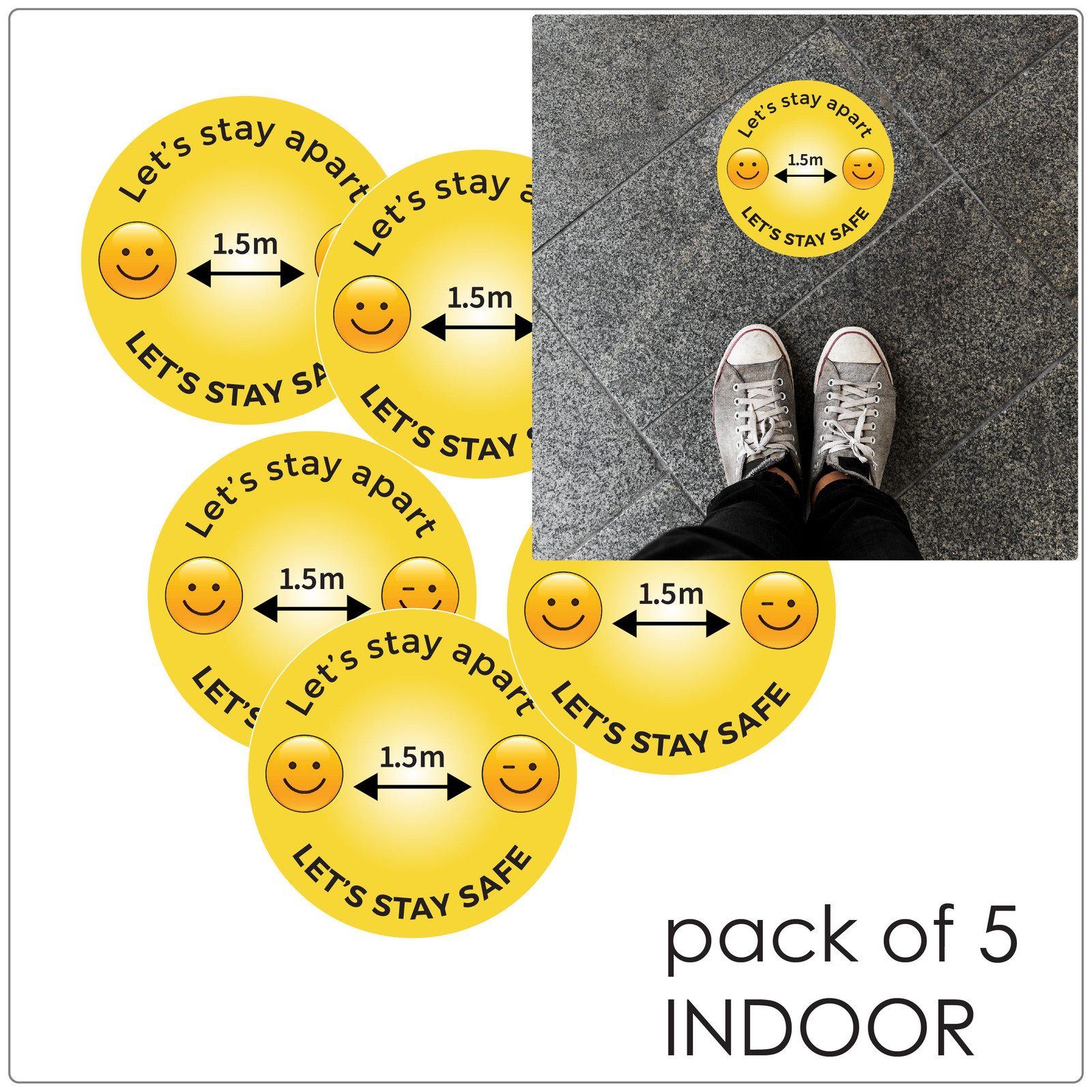 1.5 meter physical distancing floor sticker for hard floors, pack of 5, emoji Self-adhesive Corona floor marker safety floor signs for COVID-19