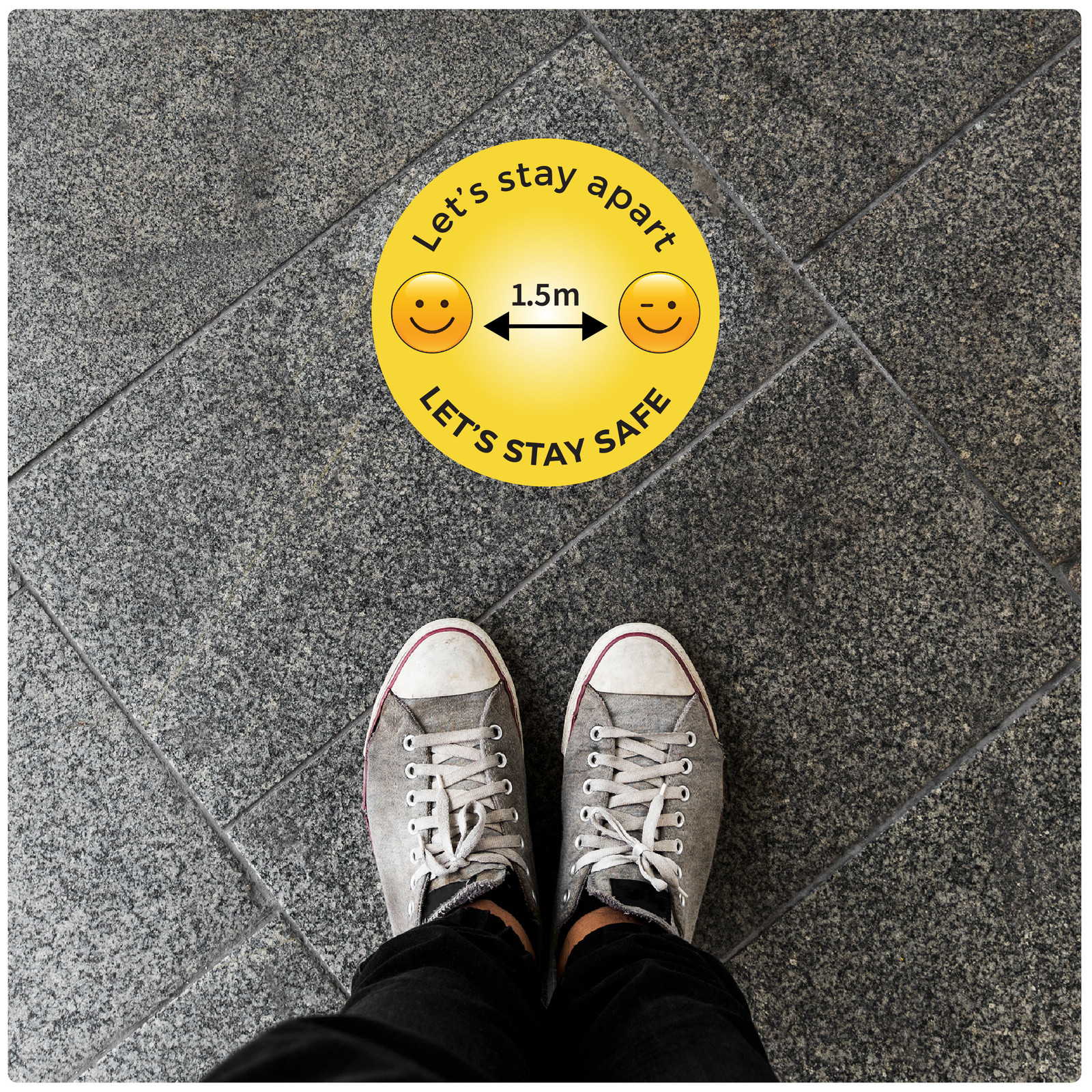 1.5 meter physical distancing floor sign for hard floors, photo, emoji Self-adhesive Corona floor marker safety floor sticker for COVID-19