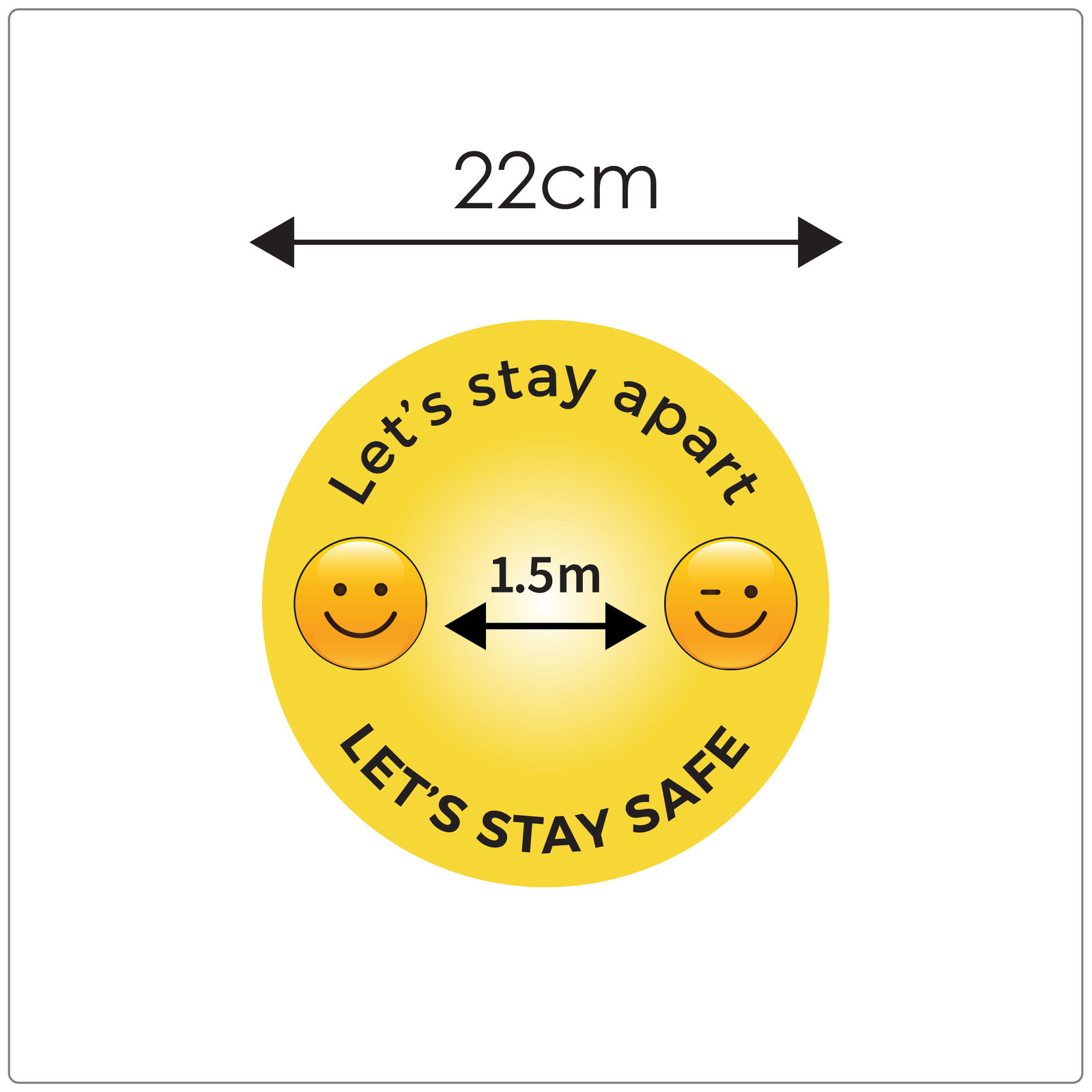 1.5 metres social distancing floor sign for outdoors, size, emoji Self-adhesive Corona floor marker safety floor sticker for COVID-19