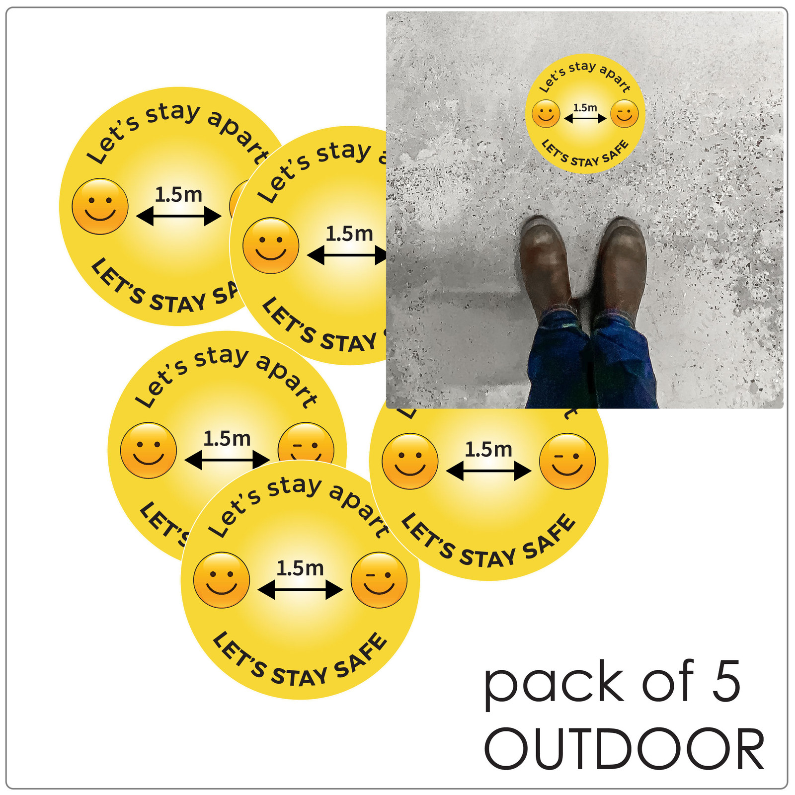 1.5 meter physical distancing floor sticker for outdoors, pack of 5, emoji Self-adhesive Corona floor marker safety floor signs for COVID-19