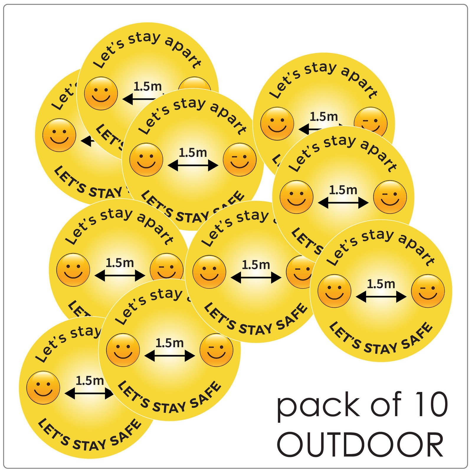 physical distancing floor sticker for outdoors, pack of 10, emoji Self-adhesive Corona floor marker safety floor signs for COVID-19
