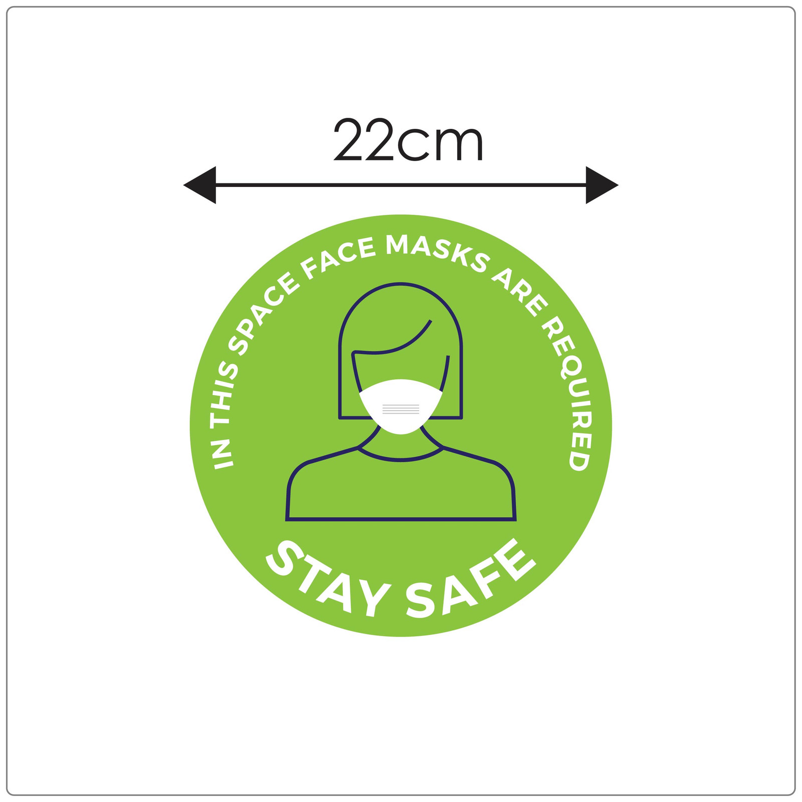 COVID mask sticker,  green, sizing Self-adhesive face mask sticker to encourage mask wearing.