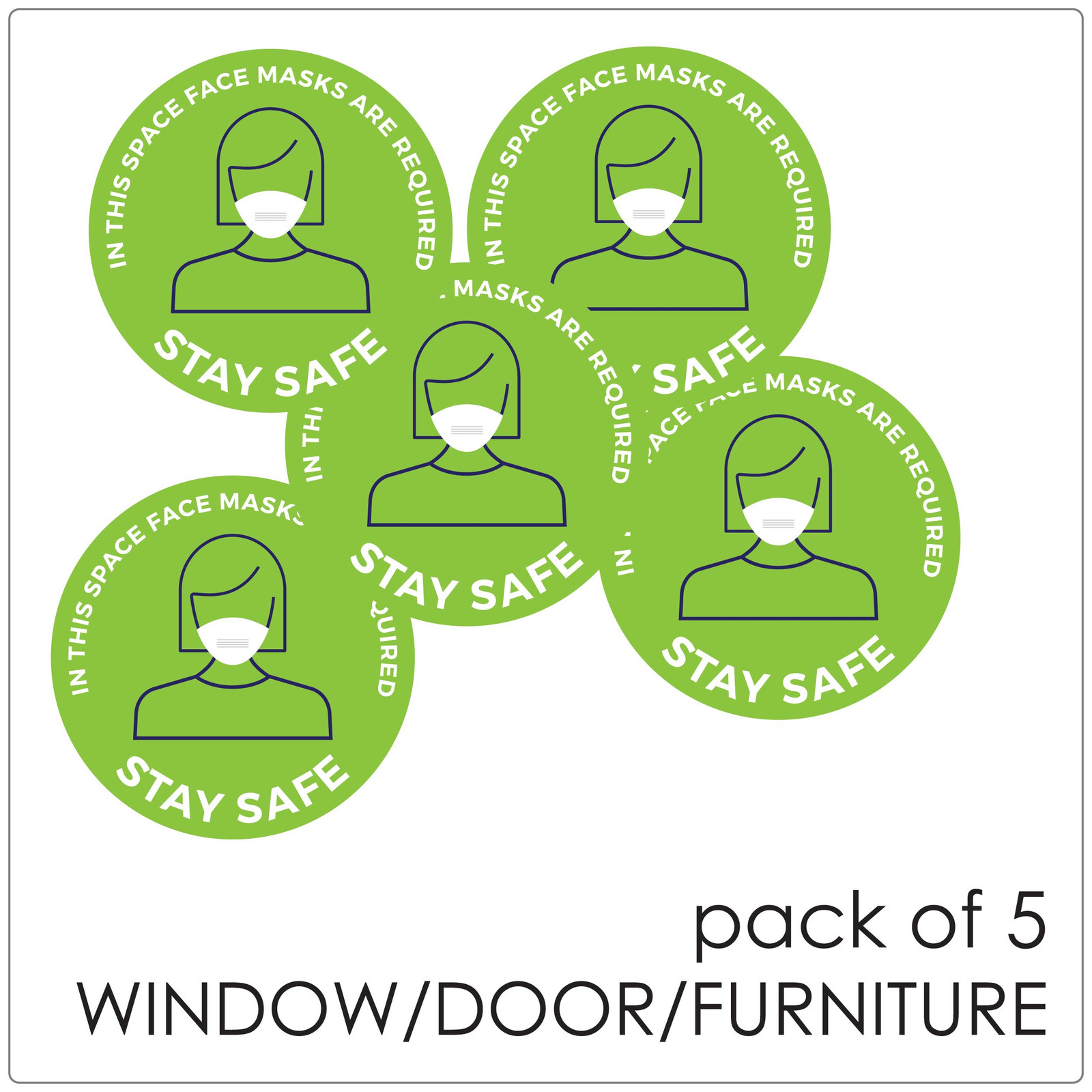 COVID mask DOOR sticker,  green, pack of 5 Self-adhesive Corona virus WINDOW sticker to encourage mask wearing.