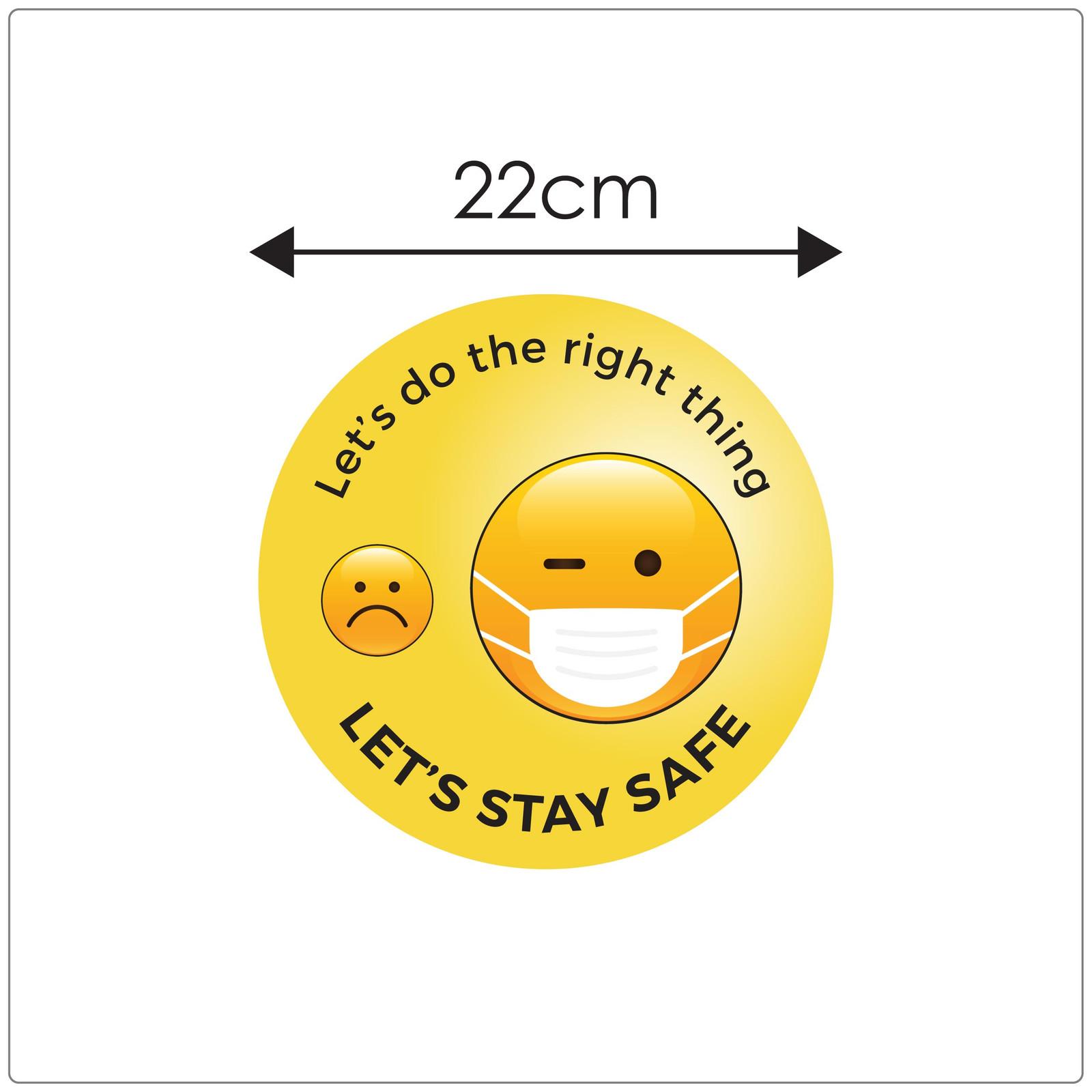 COVID mask sticker,  emoji, sizing Self-adhesive face mask sticker to encourage mask wearing.