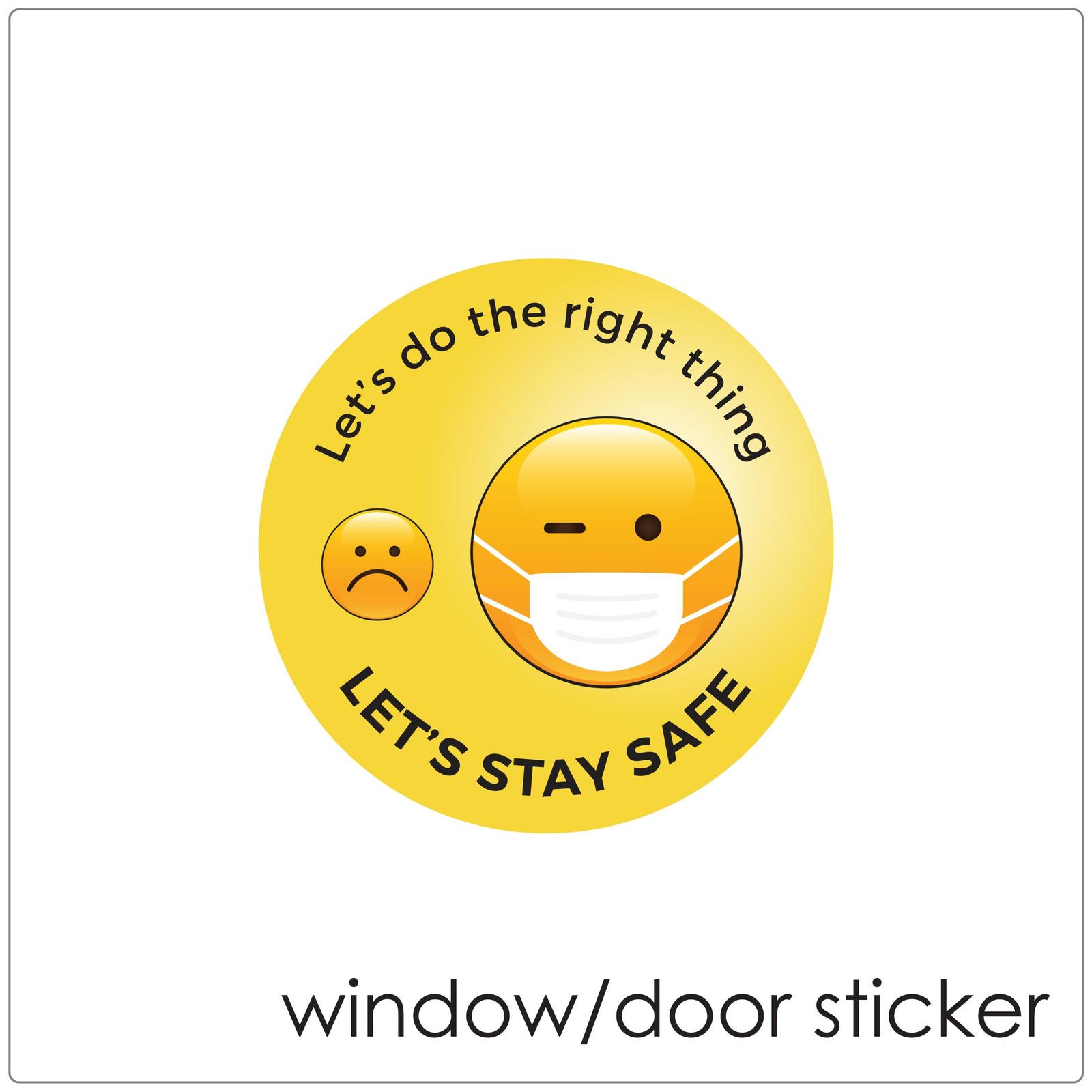 Face mask DOOR/WINDOW sticker, emoji Self-adhesive covid mask sign to encourage mask wearing.