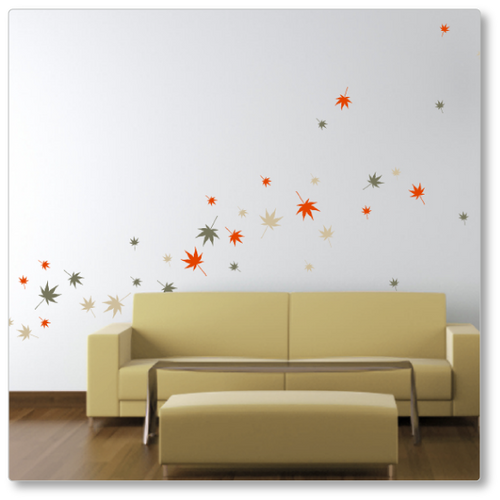 36 Autumn leaves blown by the wind across the wall. Shown here on a neutral wall in the autumn 1 colour pallete.