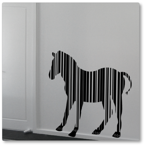 Our barcode zebra has been created from vertical barcode stripes, a unique take on the zebra. This unique decal is shown in black on a neutral wall.