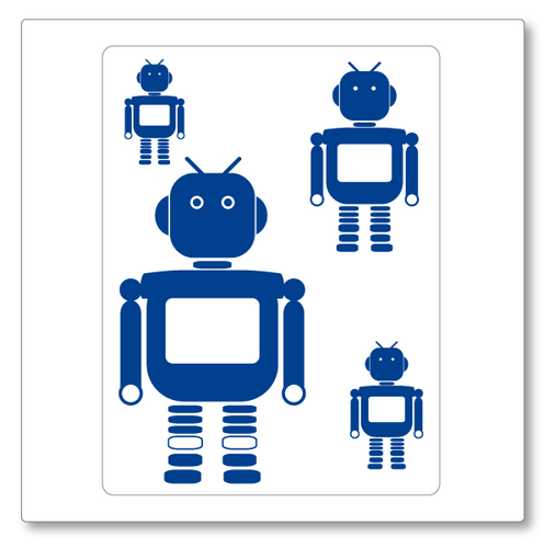 Our boy robots (small) vinyl wall decal set contains four robots of varied size. Shown here in blue on white.