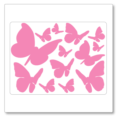 Our butterflies vinyl decal decal contains thirteen butterflies of varying size. Shown here in soft pink on white.