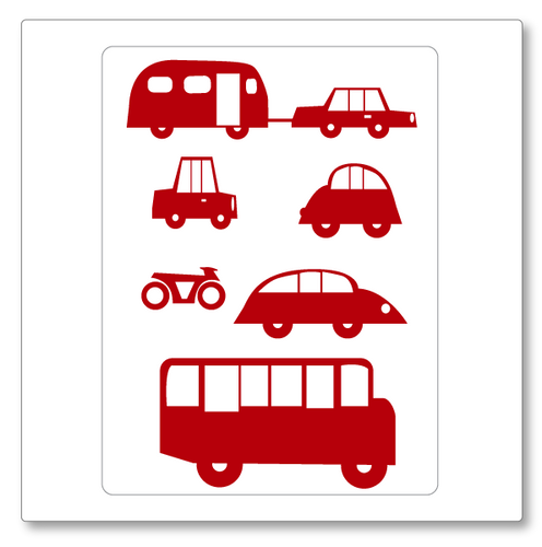 Our cars vinyl wall decal small has three cars, one car and caravan, a bus and a motorbike. Shown here in red.