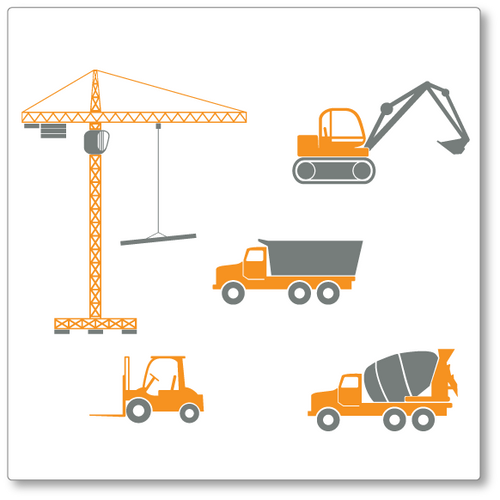 Our construction Machine set vinyl wall decal comes with four vehicles and one crane. Shown here in orange and grey.