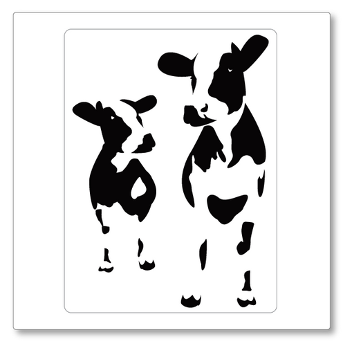 This 'mad cows' vinyl wall decal makes bold use of negative space to create a fun feature wall with two cows. Shown in black.
