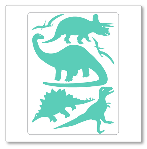 Our dinosaurs vinyl wall decal contains six dinosaurs, four standing and two flying. Shown here in mint on white.