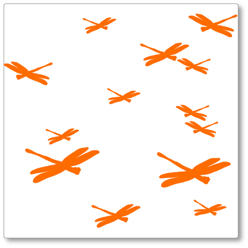 Our dragonflies vinyl wall decal has thirteen dragonflies all darting around in a variety of sizes. Shown in orange on white.