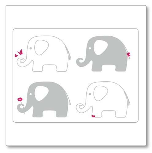 Our elephant vinyl decal has four elephants with accent details like flowers, butterflies and a bow. Shown as grey and pink.