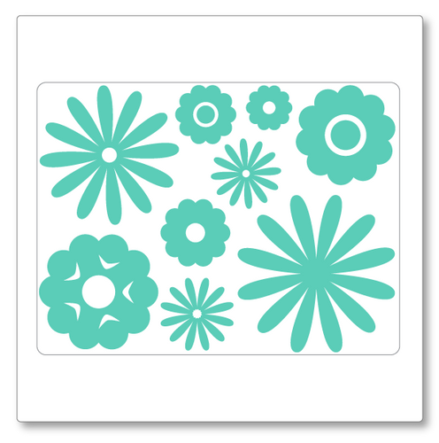 Our flowers wall decal (small) comes with nine different flowers in different sizes. Shown here in mint on white.
